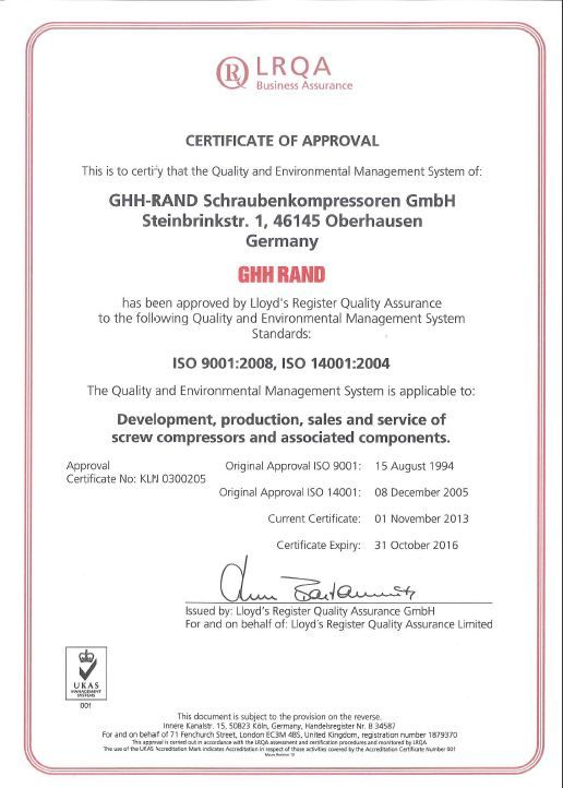 GHH RAND Certification Reference